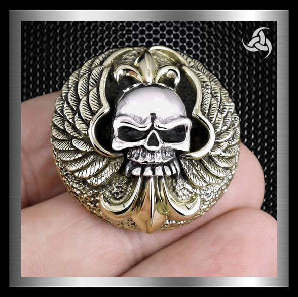 Biker Winged Skull Concho Sterling Silver And Brass Sinister Silver Company