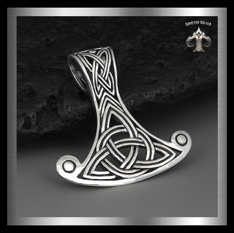 Sterling Silver Thors Hammer Viking Knotwork Pendant - Sinister Silver Co.