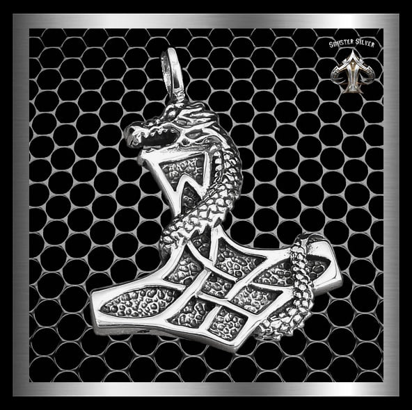 Sterling Silver Thors Hammer Viking Dragon Pendant - Sinister Silver Co.