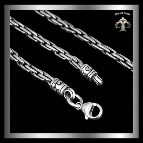 Sterling Silver Biker Necklace Viking Rope Chain - Sinister Silver Co.