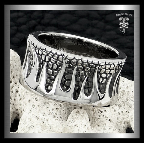 Mens Biker Flames Ring Sterling Silver Wide Flamed Band Size 10, 11 - Sinister Silver Co.