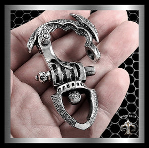 Biker Tribal Keychain Belt Clip Sterling Silver Wallet Connector - Sinister Silver Co.