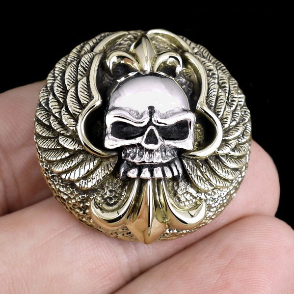 Biker Skull And Wings Concho Sterling Silver And Brass