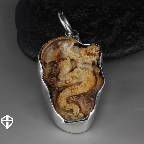 Mens Viking Dragon Pendant Sterling Silver Fossil Walrus Tooth - Sinister Silver Co.
