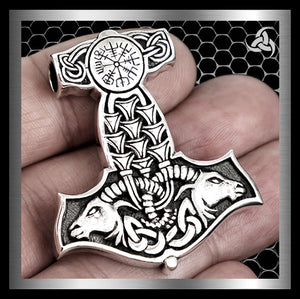 Viking Thors Hammer Pendant Norse Vegvisir Goats Sterling Silver - Sinister Silver Co.