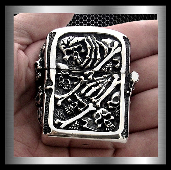 Biker Gang Of Skulls Lighter Solid Sterling Silver 4.56 Ounces