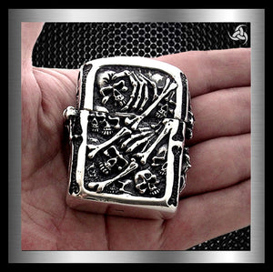 Biker Skull Lighter Memento Mori Solid Sterling Silver 5 Ounces - Sinister Silver Co.