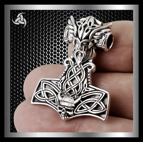 Viking Valkyrie Thors Hammer Solid Sterling Silver Norse - Sinister Silver Co.