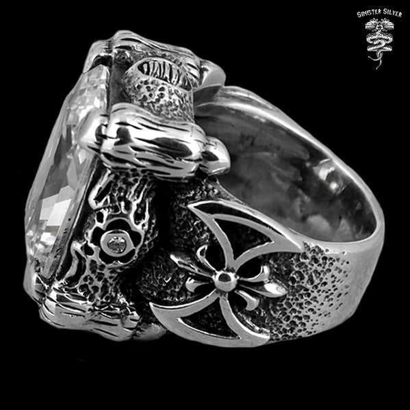 Sterling Silver Biker Dragon Claw Ring - Sinister Silver Co.