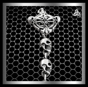 "Biker Skull Rosary Neck Chain Sterling Silver 19.6"" Necklace At Sinister Silver Co."