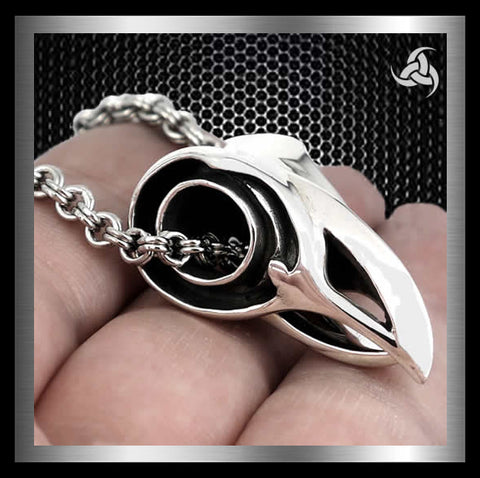 Heavy Raven Head Movable Jaw Pendant Sterling Silver Jewelry At SinisterSilverCo