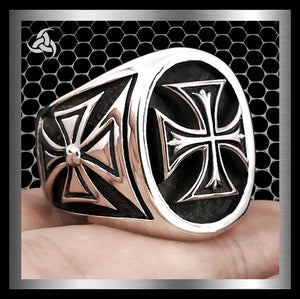 Knights Templar Iron Maltese Cross Biker Ring Sterling Silver Size 9 At SinisterSilverCo