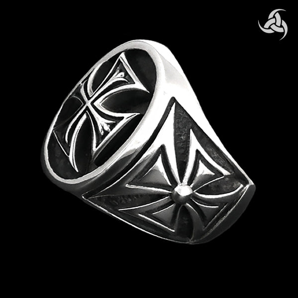 Knights Templar Iron Maltese Cross Biker Ring Sterling Silver Size 9