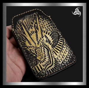 PREMIUM Tooled Dragon iPhone Cellphone Case Hand Carved Leather Universal Fit Sleeve - Sinister Silver Co.