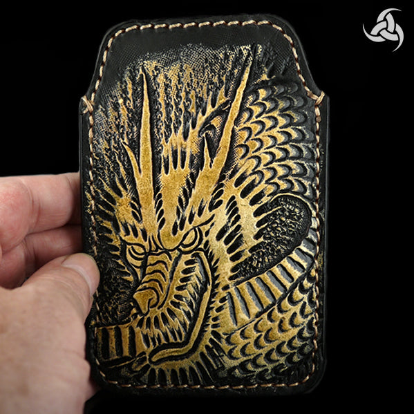 PREMIUM Tooled Dragon iPhone Cellphone Case Hand Carved Leather Universal Fit Sleeve