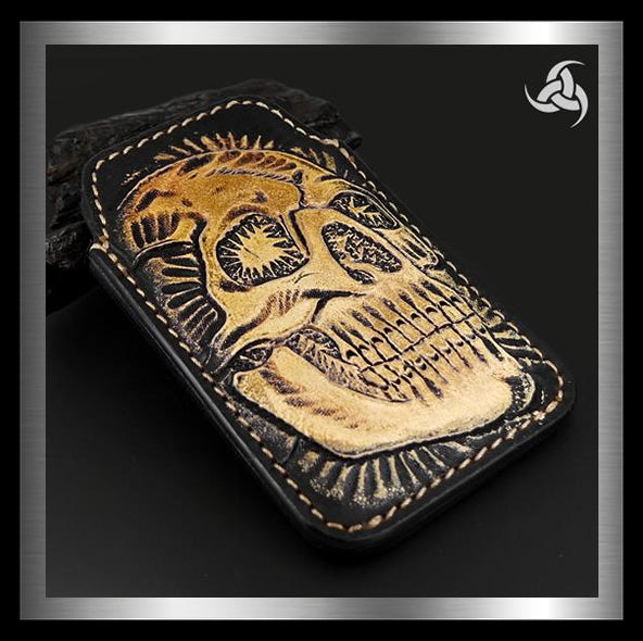 PREMIUM Tooled Skull iPhone Cellphone Case Hand Carved Leather Universal Fit Sleeve - Sinister Silver Co.