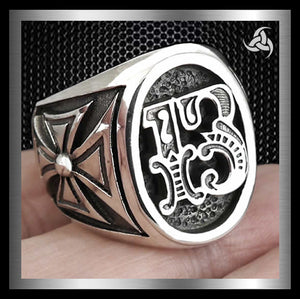 Mens Biker Ring Maltese Cross Number 13 Sterling Silver Size 8 to 14 - Sinister Silver Co.