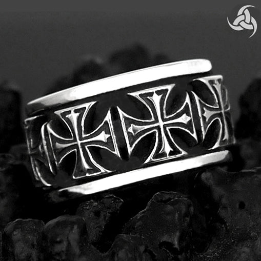 Mens Biker Spin Ring Maltese Cross Sterling Silver Sz 9.25, 10 - Sinister Silver Co.
