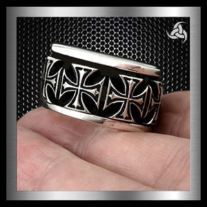 Iron Maltese Cross Heavy Spin Ring Sterling Silver Size 9.25 Sinister Silver