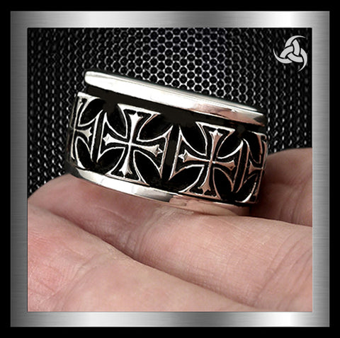 Mens Biker Spin Ring Maltese Cross Sterling Silver Sz 10.25 - Sinister Silver Co.