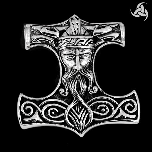 Viking Thors Hammer Pendant Sterling Silver SOLID Lightning Bolt Norse - Sinister Silver Co.