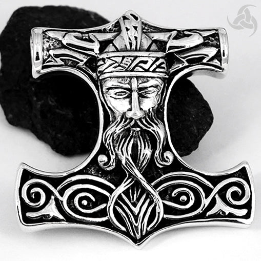 Viking Thors Hammer Pendant Sterling Silver SOLID Lightning Bolt Norse