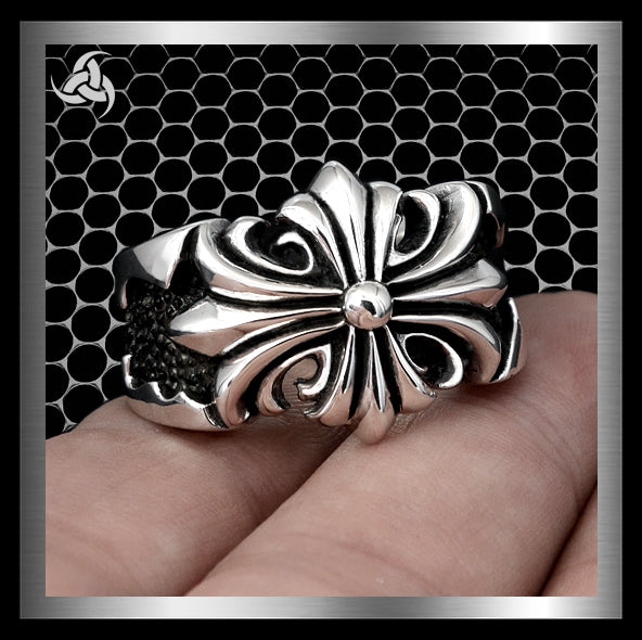 Heavy Mens Ring Templar Cross Stingray Inlay Sterling Silver Size 10