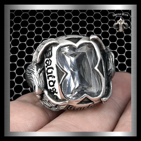 Sterling Silver Double Eagle Biker Ring - Sinister Silver Co.