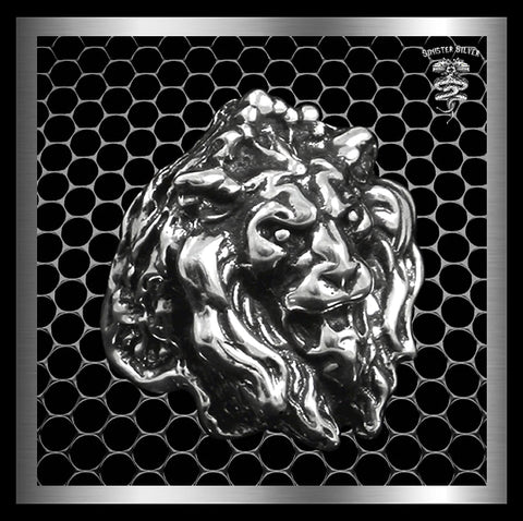 Sterling Silver Majestic Lion Mens Ring - Sinister Silver Co.