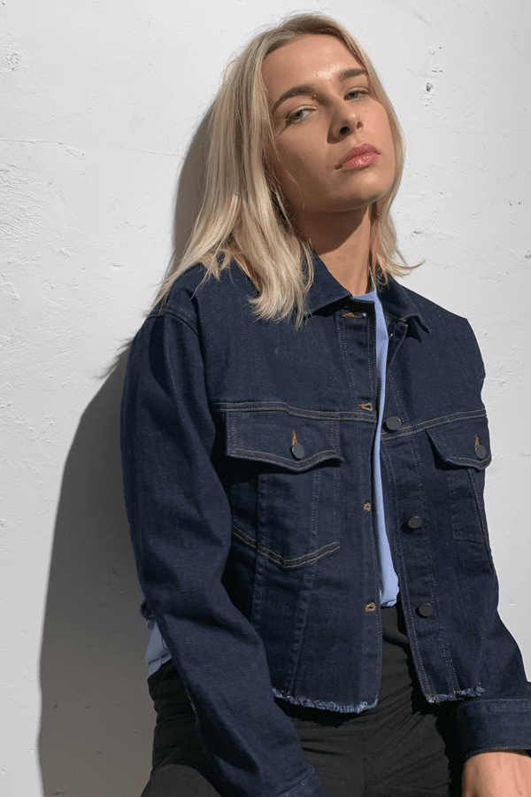 GRAPHIC WASH NATSU CROPPED DENIM JACKET - Nique Clothing