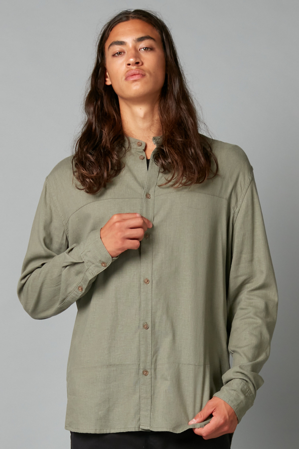 Sage Ubuntu Cotton Long Sleeve Mandarin Collar Shirt