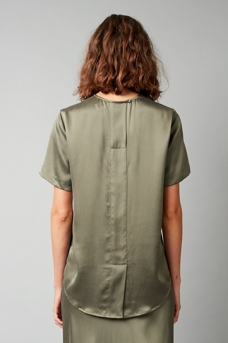 KHAKI SILK CHIE TEE - Nique Clothing