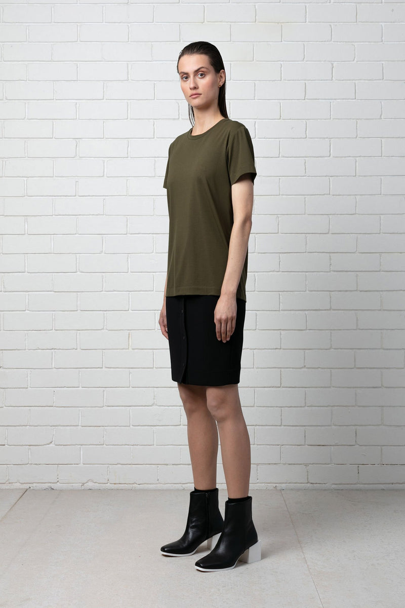 DEEP KHAKI RINJI COTTON MODAL TEE