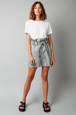 GREY RELAXATION LINEN SHORTS