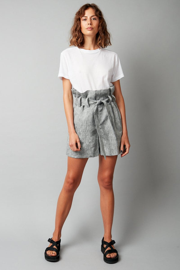 GREY RELAXATION LINEN SHORT