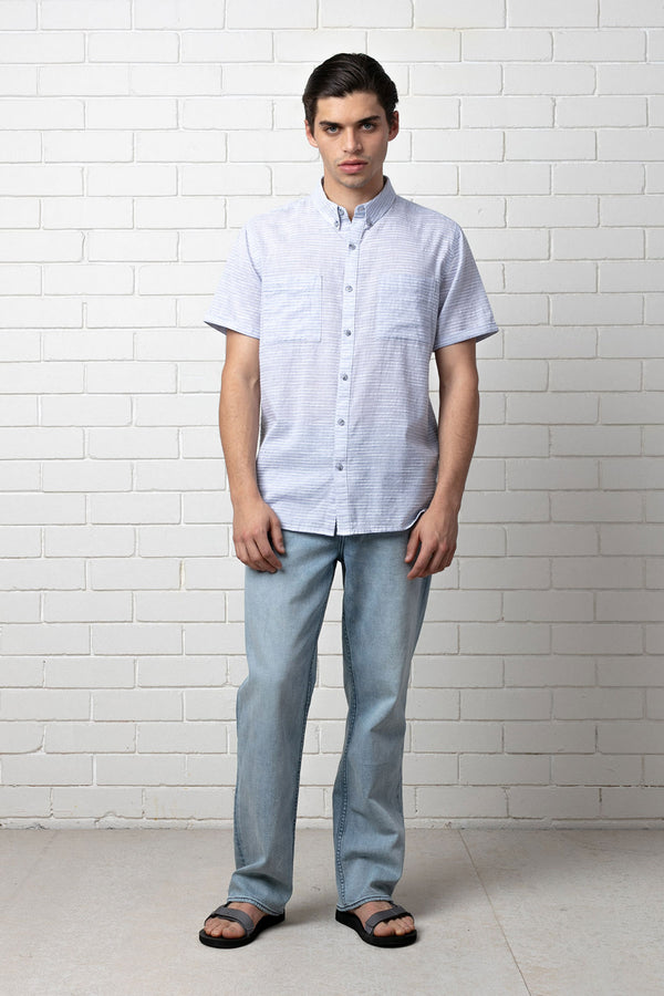 EIJI BLUE REGULAR SHORT SLEEVE SHIRT