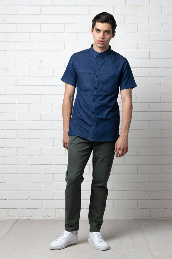 Blue Koji Cotton Short Sleeve Shirt