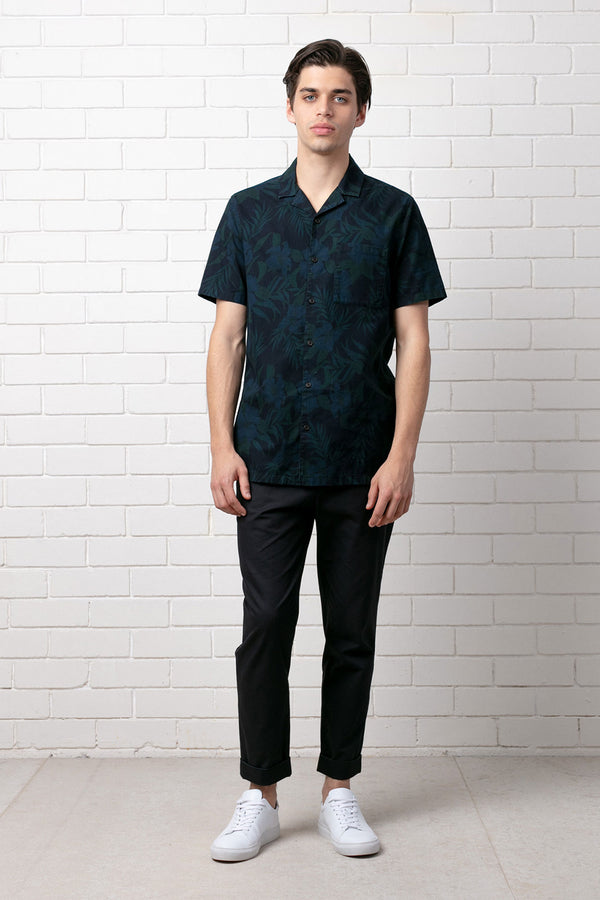 Dark Khaki Mori Print Cotton Short Sleeve Shirt