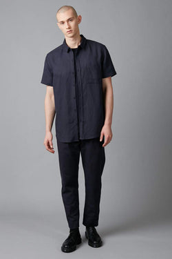 INK BLUE MAKI SHORT SLEEVE LINEN SHIRT - Nique Clothing