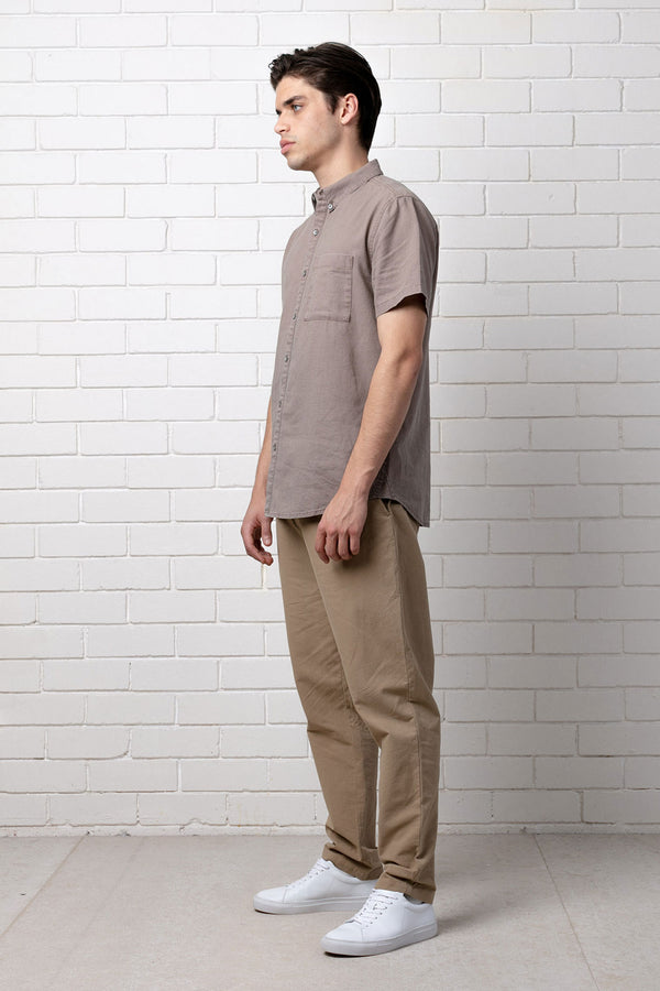 Taupe Kitao Cotton Short Sleeve Shirt