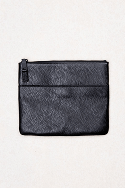 BLACK LEATHER YUJO POUCH - Nique Clothing