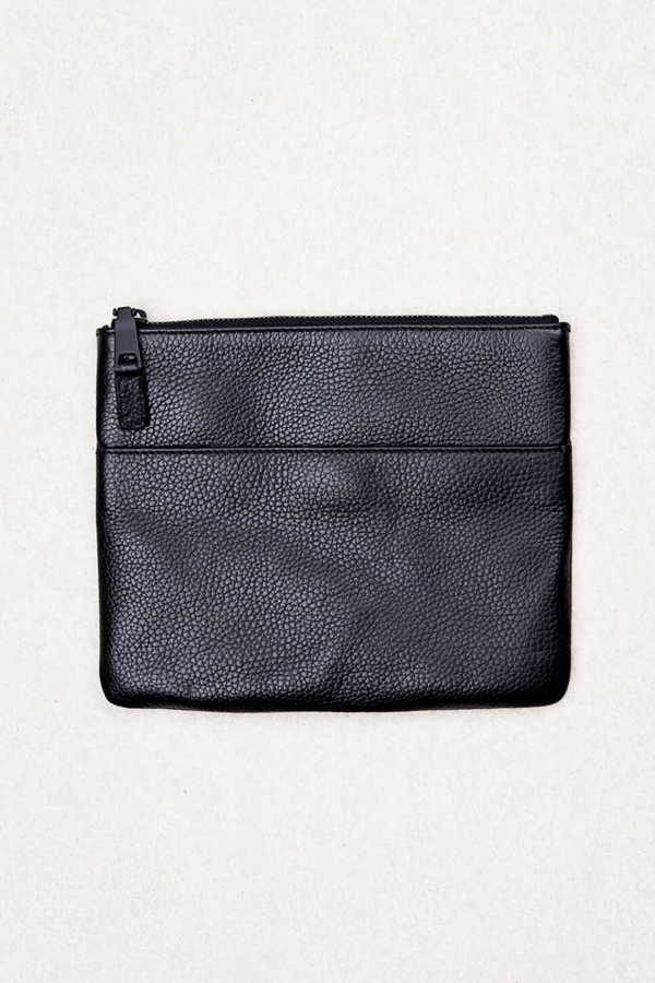 BLACK LEATHER YUJO POUCH
