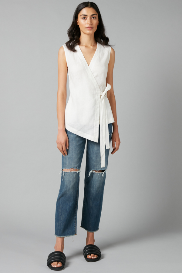 White Akari Linen Wrap Top