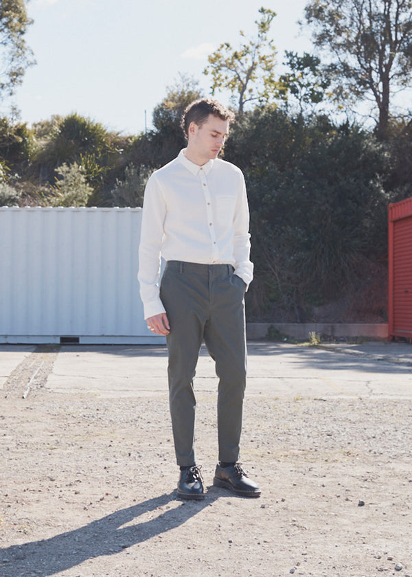 Mens Khaki Cotton Drop Crotch Tailored Cotton Pants from Nique
