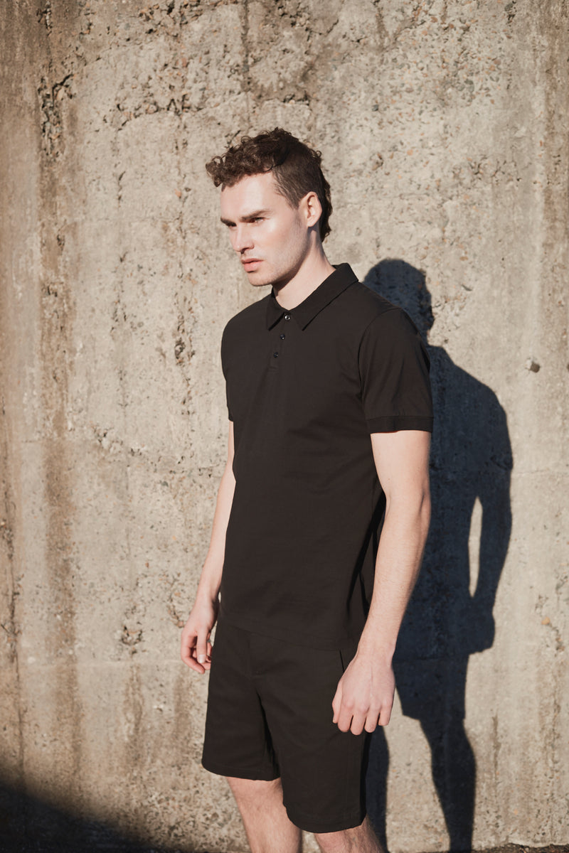 BLACK MERCERISED COTTON POLO SHIRT