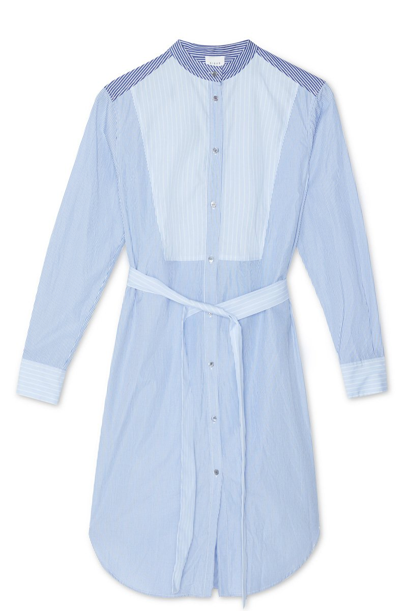 BLUE WHITE STRIPE NAMO COTTON SHIRTDRESS - Nique Clothing