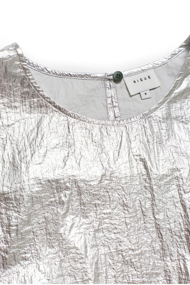 SILVER NYLON HELIUM TOP - Nique Clothing