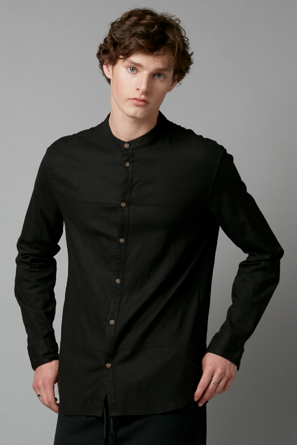 Black Ubuntu Mandarin Collar Shirt