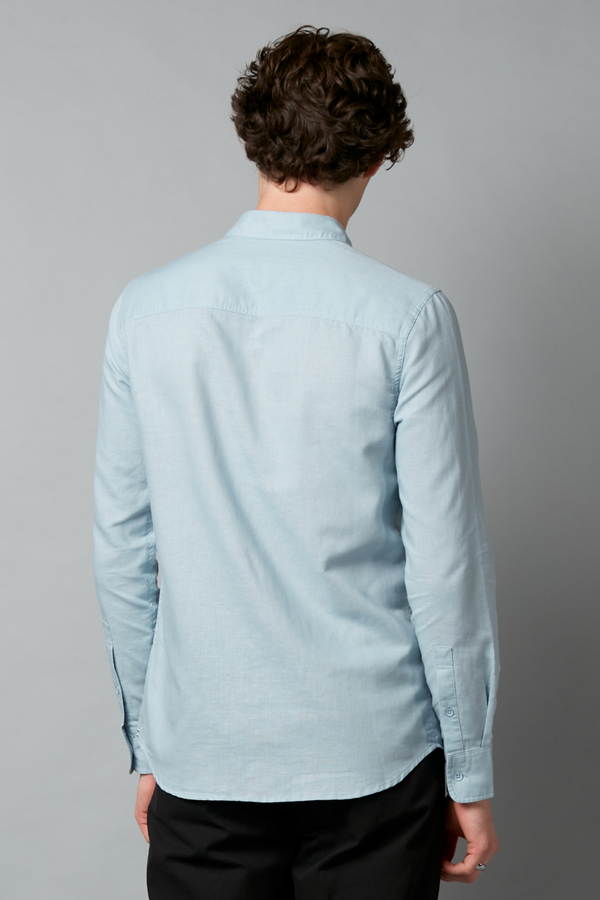 BLUE KANO LONG SLEEVE LINEN COTTON SHIRT