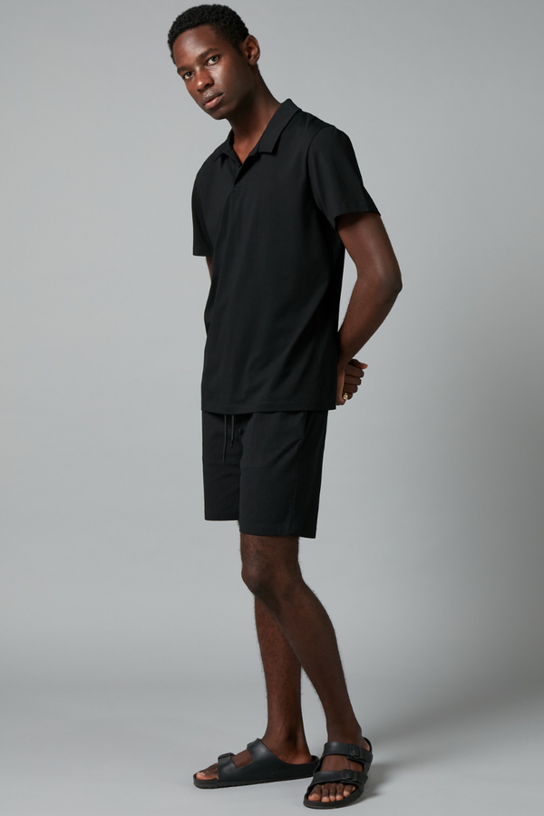 Black Polo Mercerised Cotton Shirt